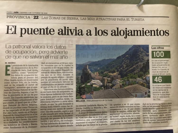 Articulo Diario Jaén sobre la ocupación hotelera.